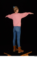 Shenika blue jeans brown shoes workers pink sweater standing t-pose whole body 0006.jpg