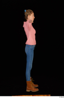 Shenika blue jeans brown shoes workers pink sweater standing t-pose whole body 0007.jpg