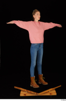 Shenika blue jeans brown shoes workers pink sweater standing t-pose whole body 0008.jpg