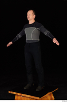 George black thermal underwear clothing standing whole body 0011.jpg