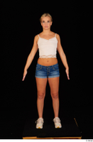 Victoria Pure blue jeans shorts pink top standing whole body 0001.jpg