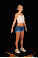 Victoria Pure blue jeans shorts pink top standing whole body 0002.jpg