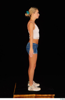 Victoria Pure blue jeans shorts pink top standing whole body 0003.jpg
