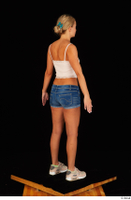 Victoria Pure blue jeans shorts pink top standing whole body 0004.jpg