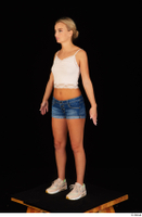 Victoria Pure blue jeans shorts pink top standing whole body 0008.jpg