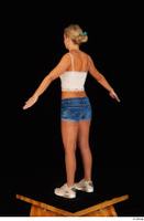 Victoria Pure blue jeans shorts pink top standing whole body 0014.jpg