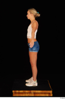 Victoria Pure blue jeans shorts pink top standing whole body 0015.jpg