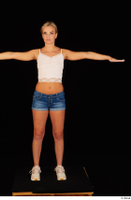 Victoria Pure blue jeans shorts pink top standing t-pose whole body 0001.jpg