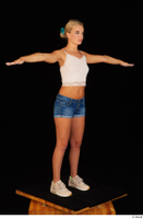 Victoria Pure blue jeans shorts pink top standing t-pose whole body 0002.jpg