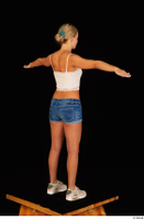 Victoria Pure blue jeans shorts pink top standing t-pose whole body 0004.jpg