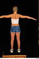 Victoria Pure blue jeans shorts pink top standing t-pose whole body 0005.jpg
