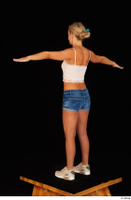 Victoria Pure blue jeans shorts pink top standing t-pose whole body 0006.jpg