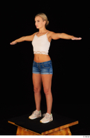 Victoria Pure blue jeans shorts pink top standing t-pose whole body 0008.jpg