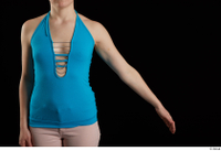Vanessa Shelby  1 arm blue tank top flexing front view 0002.jpg