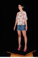 Lady Dee blossom top blue jeans skirt pink high heels standing whole body 0002.jpg