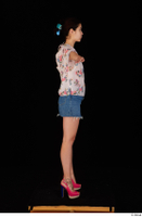 Lady Dee blossom top blue jeans skirt pink high heels standing t poses whole body 0007.jpg