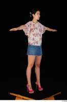 Lady Dee blossom top blue jeans skirt pink high heels standing t poses whole body 0008.jpg