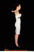 Rania black high heels dressed formal standing t poses white dress whole body 0007.jpg