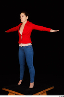 Rania black high heels blue jeans calling casual dressed pink top red jacket standing t poses whole body 0002.jpg