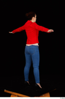 Rania black high heels blue jeans calling casual dressed pink top red jacket standing t poses whole body 0006.jpg